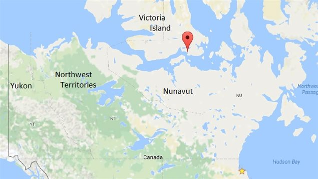 Cambridge Bay in the high Arctic on Victoria Island, Nunavut Territory, where Maud spent decades sunk in a shallow bay.