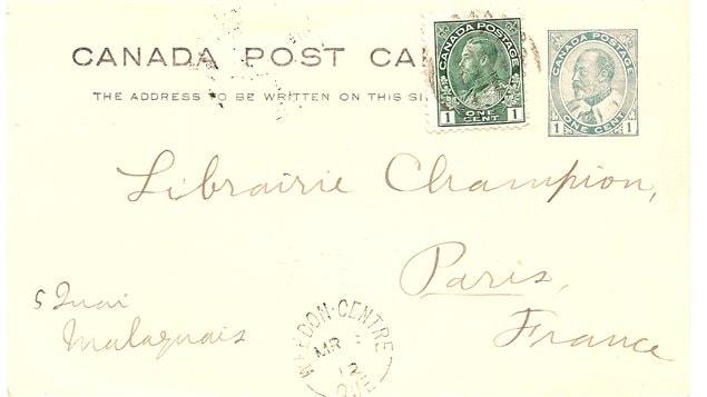 Lettre postale à l'effigie d'Édouard VII complété par un timbre à l'effigie de George V