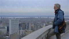 Director John Walker at Mount Royal lookout in a scene from the film Quebec: My Country/Mon Pays