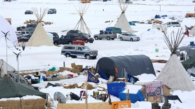 Indigenous people in the U.S. have been staging anti-pipeline protests like this one North Dakota and have asked Canadian chiefs for their support.