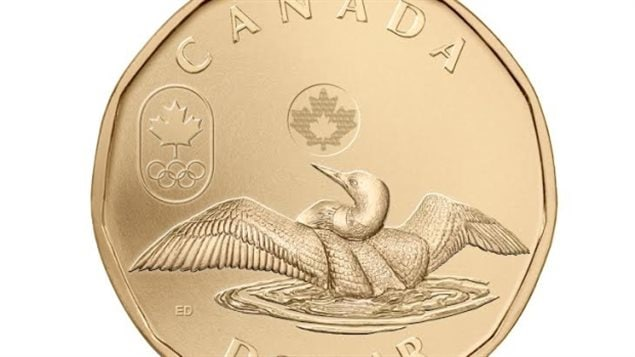 Various loon images have been minted, even other birds, but since the 2002 Olympis, the Mint has been creating Olympic year *lucky loonies*/ Here is the 2014 edition showing a loon spreading its wings with maple leaves and the Olympic logo