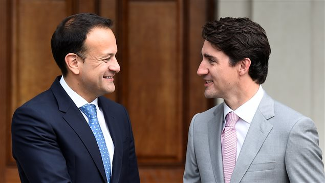Canada's Prime Minister Justin Trudeau meets with Taoiseach Leo Varadkar at Farmleigh House, Dublin, Ireland, July 4, 2017.