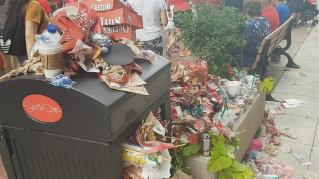 For those who were able to get food before lining up to enter Parliament Hill, garbage bins were overflowing by early afternoon.