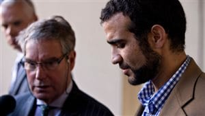 Lawyer Dennis Edney (L) and Omar Khadr (R). The Canadian Liberal government appears on the verge of paying a $10.5 million settlement and issue an apology for human rights violations to former Guatnanamo Bay prisoner Omar Khadr.