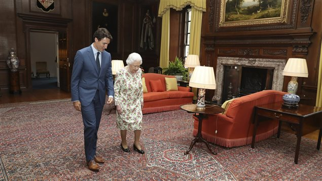 Queen Elizabeth II greets Canadian Prime Minister, Justin Trudeau, during an audience at the Palace of Holyroodhouse in Edinburgh, Scotland, Wednesday July 5, 2017. Trudeau leaves Thursday for Hamburg and the G20 meetings.