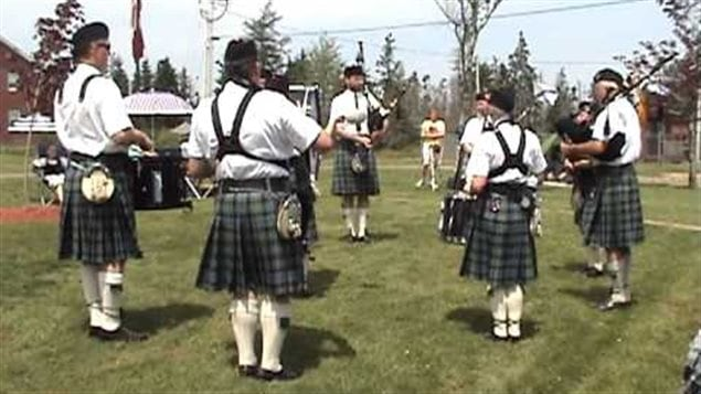 Clan Farquharson Pipes and Drums at the Gaelic College in 2013