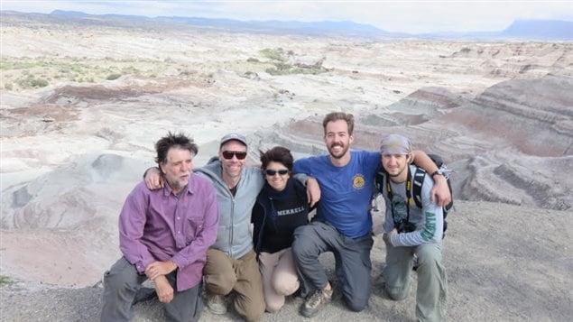 Researchers in the Argentine desert: L-R: Ricardo Ojeda, Ben Evans, Agustina Ojeda, Nate Upham, Ben Furman.