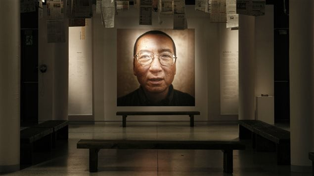 A picture of 2010 Nobel Peace Laureate Liu Xiaobo is seen at an exhibition at the Nobel Peace Center in Oslo December 10, 2010. Liu died of terminal cancer on Thursday, July 13, 2017, shortly after being transferred from jail to a civilian hospital for palliative care.