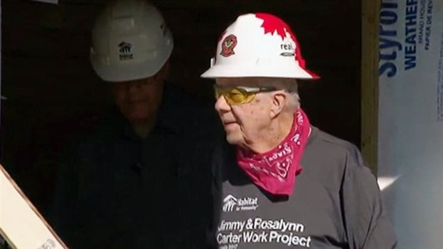 Former U.S. President Jimmy Carter was in western Canada to support the building of affordable homes.