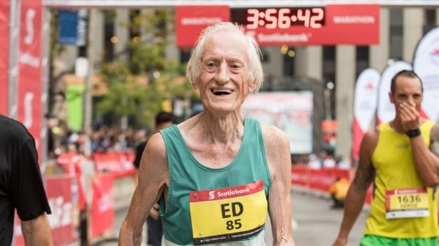 85-year-old Ed Whitlock finished the October 2016 Toronto Scotiabank Waterfront Marathon with a world-record time of 3:56:33.2.