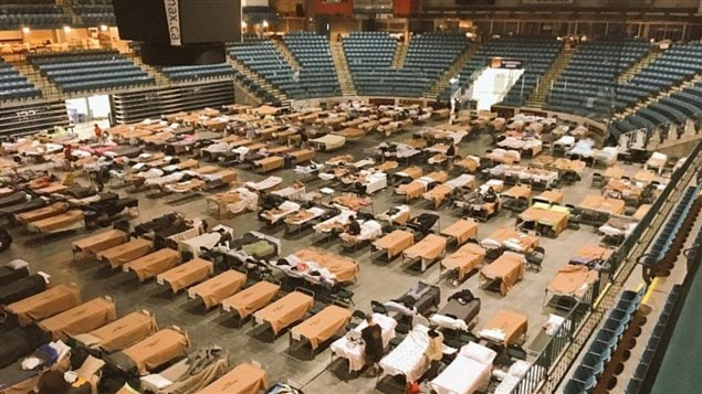 Cots are set up for evacuees at the Sandman Centre in Kamloops, B.C. on Sunday, July 16, 2017 in this handout photo. Officials in British Columbia have managed to tally some of the heartbreaking losses from out-of-control wildfires that prompted the provincial state of emergency.