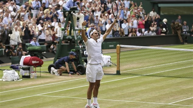 Will Roger Federer, seen here celebrating his victory at Wimbledon last Sunday, be In Montreal to play the Rogers Cup? Canadians have their fingers crossed.