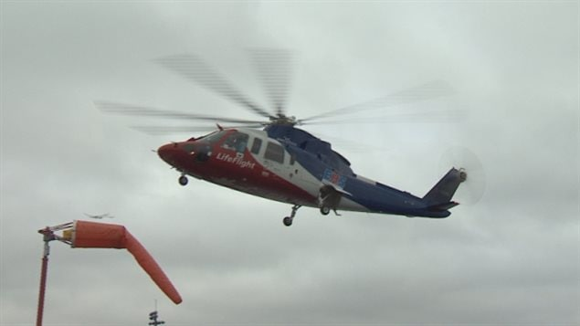A helicopter was used to airlift the injured child to a hospital in Halifax, Nova Scotia.