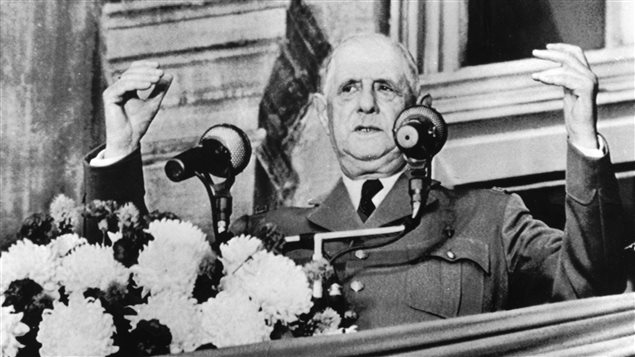 Former French President Charles de Gaulle making his famous *vive le Quebec libre* speech at Montreal's city hall on July 24, 1967.