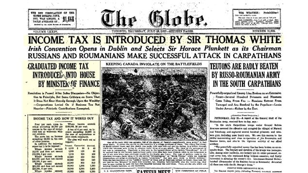 The Globe newspaper in July 1917 announcing the tax as a headline even superceding war news.