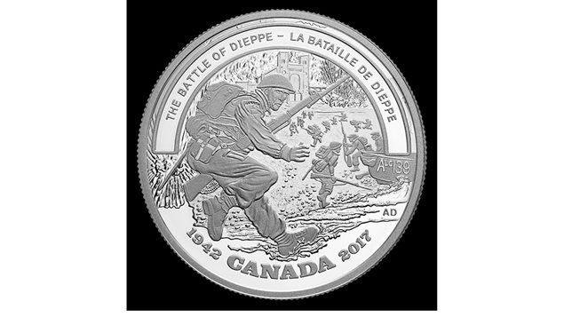 The controversial coin commemorating the *Battle of Dieppe*. Veterans say it is properly called the *Dieppe Raid*