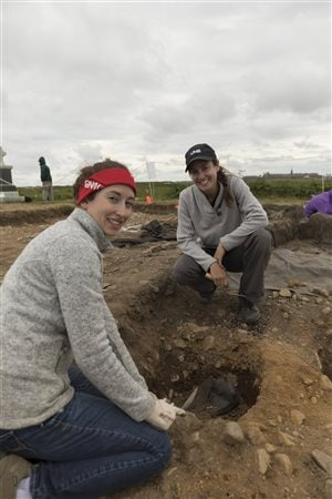 Prof. Amy Scott (right) is the project director  and supervises students like Jessica Hinton.