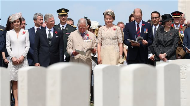 Britain's Catherine the Duchess of Cambridge, Prince Charles, Prince William and Belgium's King Philippe and Queen Mathilde, and Prime Minister Theresa May attend commemorations for the 100th anniversary of the battle of Passchendaele at Tyne Cot cemetery near Ypres in Belgium, July 31, 2017.