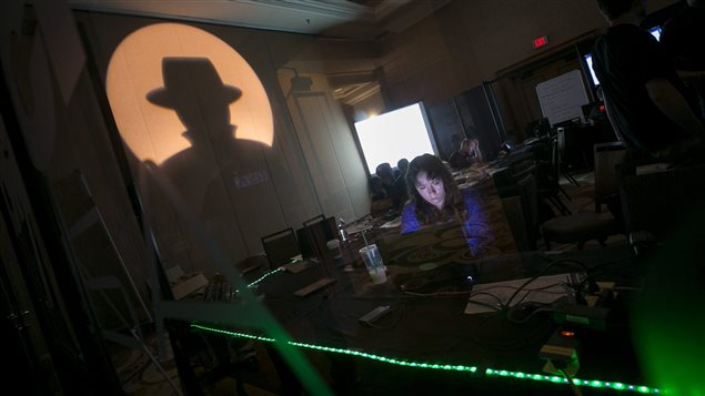 A technician works at the operating centre during the Black Hat conference information security conference on July 26, 2017 in Las Vegas.