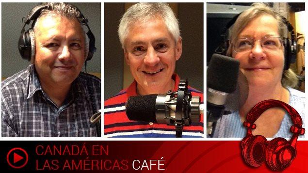 Rufo Valencia, Luis Laborda y Leonora Chapman, miembros de la sección en español de Radio Canadá Internacional