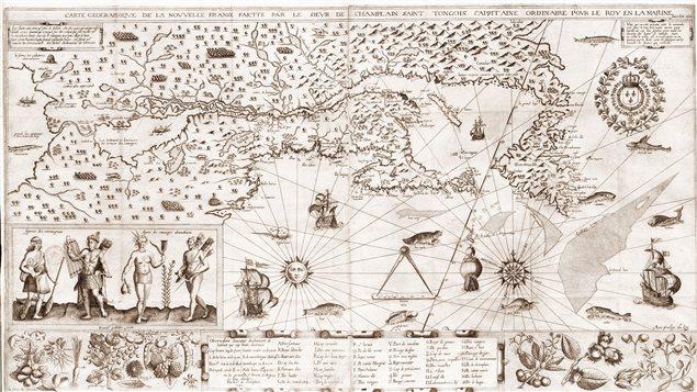 Plan de la Nouvelle France selon Samuel de Champlain en 1612.