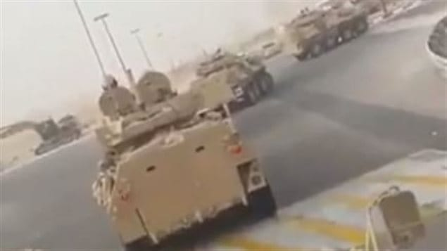 A still image capture from a video obtained by Radio Canada International purports to show a column of Light Armoured Vehicles (LAVs) produced by General Dynamics Land Systems - Canada being deployed by Saudi forces in a crackdown against Shia militants in the kingdom's Eastern Province. RCI could not independently verify the authenticity of the video.