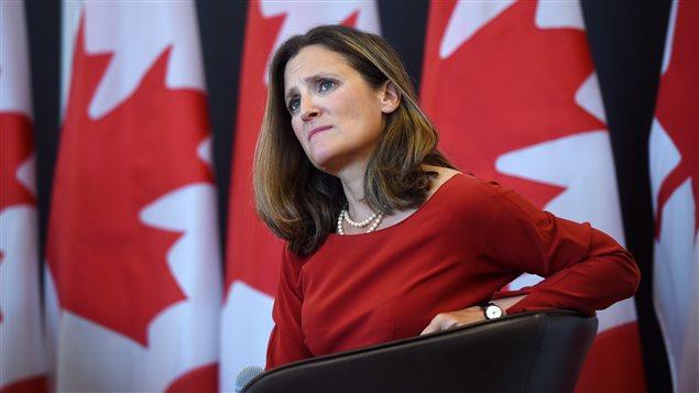 Chrystia Freeland, ministra de Relaciones Exteriores de Canadá.