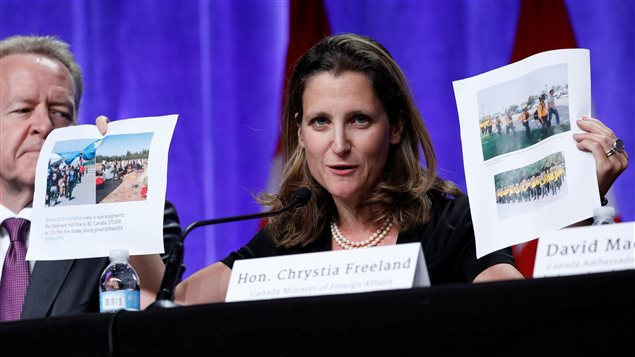Canadian Foreign Affairs Minister Chrystia Freeland opened her remarks by brandishing photographs of American and Mexican firefighters who have been dispatched to help fight the wildfires ravishing British Columbia.