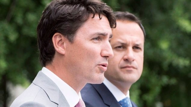 Justin Trudeau en compagnie de Leo Varadkar.