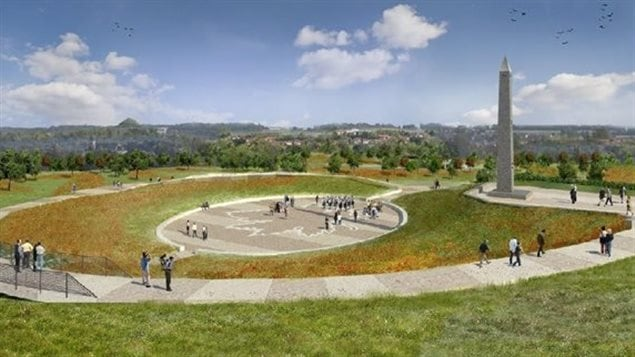 Artist concept of the Hill 70 obelisk and memorial park, near Loos-en Gohelle and overllooking the lareger centre of Lens in northern France