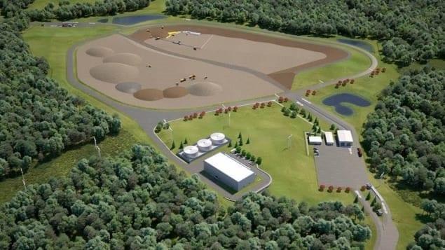 Maquette du futur site de gestion de déchets radioactifs de Chalk River, en Ontario   Photo : Laboratoires nucléaires canadiens
