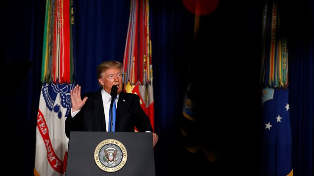 U.S. President Donald Trump announces his strategy for the war in Afghanistan during an address from Fort Myer, Virginia, U.S., August 21, 2017.