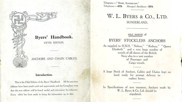 A Byers Company product catalogue book showing the swastika logo of the company. It hightlights a number of large warships and steamers that use Byers anchors.