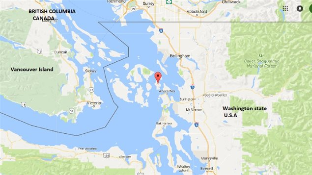 Red balloon indicates Cypress Island where the Cooke firsh farm nets are located.