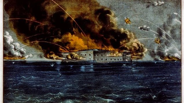 The Battle of Fort Sumter in April 1861  Although the terrific bombardment resulted in only two casualties, it signalled the start of the American Civil War, eventually including tens of thousands of Canadians.