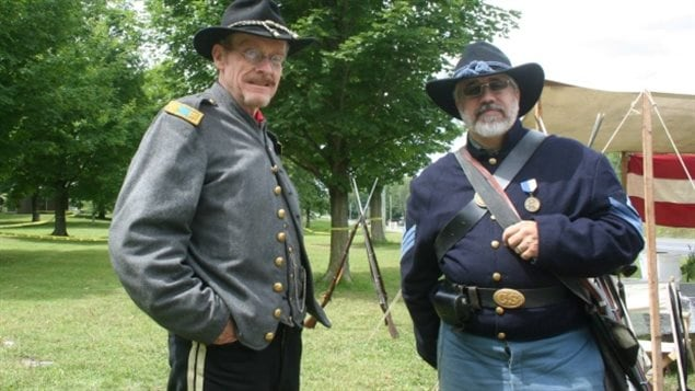 Grays and Blues of Montreal members Rob McLachlan, left, and Vince Chiarelli, right, say they don't represent the North or South, but just the Canadians who fought in the Civil War.