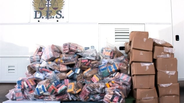 Over one metric tonne of cocaine seized by the OPP worth about $60 million, but with a street value of about $250 million.