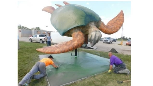 The giant turtle replica will be unveiled officially on Friday in Morden.