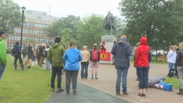 A protest was held in front of the Edward Cornwallis statue in downtown Halifax on July 1, 2017 to protest his policy of scalping aboriginals, a reaction to Mi'kmaq scalping of settlers.