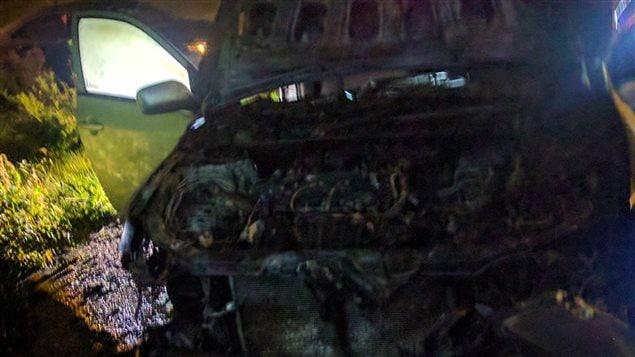 Véhicule incendié du président du Centre culturel islamique de Québec Photo : Courtoisie