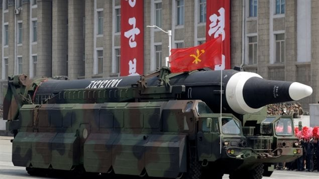A missile that analysts believe could be the North Korean Hwasong-12 is paraded across Kim Il-sung Square in Pyongyang in April. Any attempt to neutralize the country's missiles and nuclear sites would not succeed as many are mobile on trucks or vessels and so hard to target.