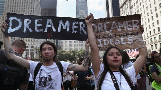 Des Dreamers manifestent dans la ville de New York en septembre dernier.