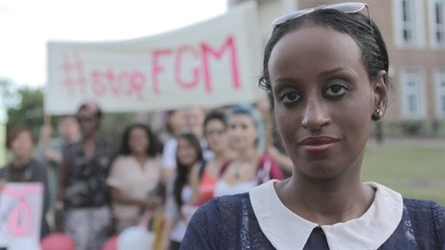 Anti-FGM activist Leyla Hussein with protestors at a rally outside town hall in Maidenhead, UK, on August 30th, 2013. Various estimates say some 60,000 cases of FGM in Britain though the practice was outlawed there in 1985.