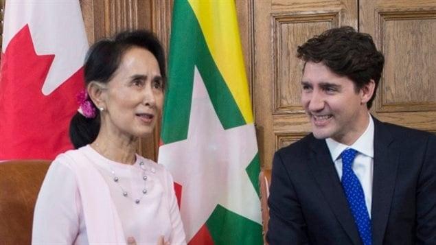 今年6月特鲁多会晤来访的缅甸领袖昂山素季