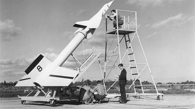 One of the Arrow test models atop a Nike booster prior to a supersonic test flight over Lake Ontario in the mid 1950's