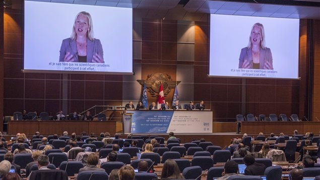 Canadian Minister of Environment and Climate Change Catherine McKenna addresses the opening session of the Intergovernmental Panel on Climate Change via video Wednesday, September 6, 2017 in Montreal.