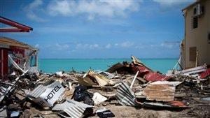 Débris d'un hôtel dans les Antilles.