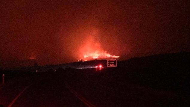 Jared Pierson, who lives down the road from Waterton Lakes National Park, was at the junction of Highway 5 and Highway 6 just before 10 p.m. MT, and captured the blaze on video. (Submitted by Jared Pierson)