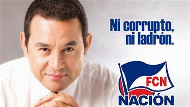 Publicidad electoral del entonces candidato a la presidencia de Guatemala, Jimmy Morales, actualmente mandatario en ese país centroamericano.
