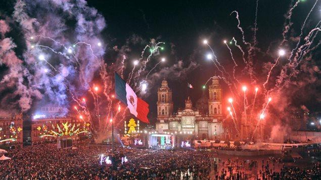 Celebración de la independencia de México, en el Zócalo de la capital.